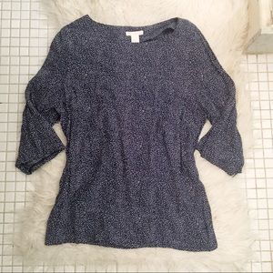 H&M Navy Speckled Flowy Blouse